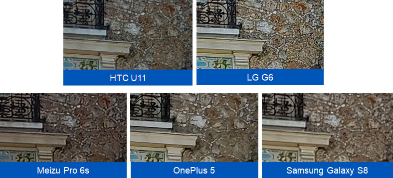 100% crop: smearing of fine textures on the OnePlus 5